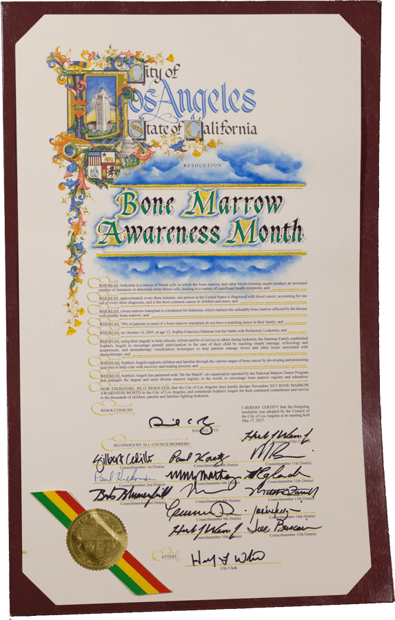 Los Angeles Bone Marrow Awareness Resolution