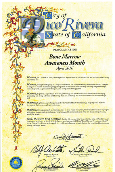 Pico Rivera Bone Marrow Awareness Proclamation