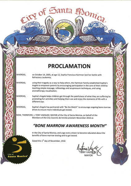 Santa Monica Bone Marrow Awareness Proclamation