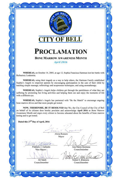 Bell Bone Marrow Awareness Proclamation