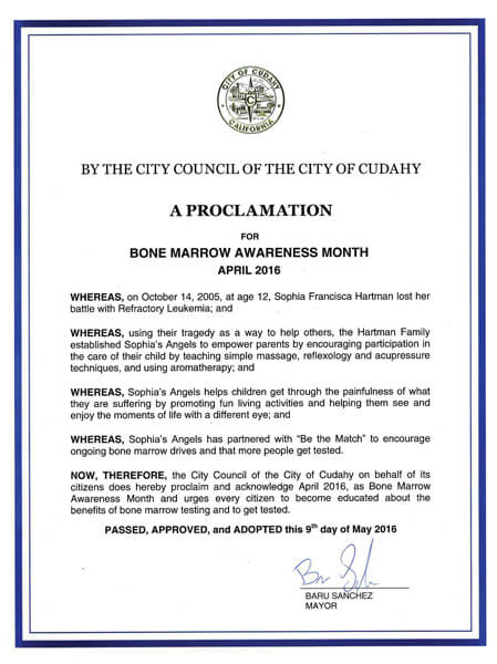 Cudahy Bone Marrow Awareness Proclamation