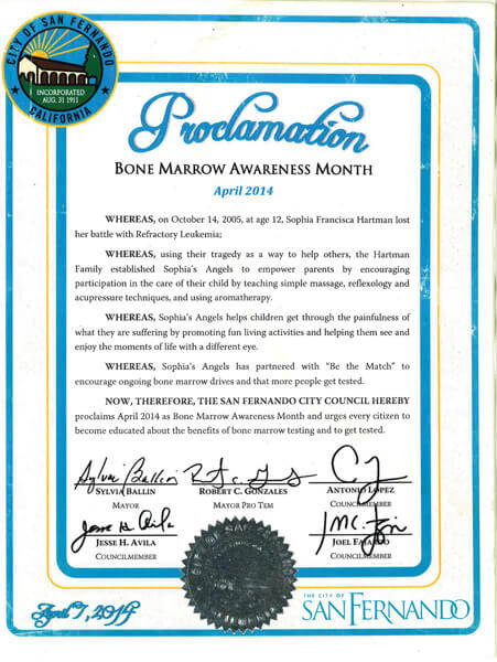 San Fernando Bone Marrow Awareness Proclamation