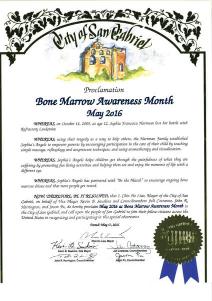 San Gabriel Bone Marrow Awareness Proclamation