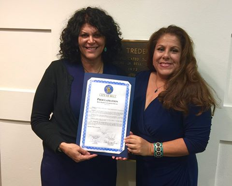 Viv and Julie at City of Bell Bone Marrow Awareness Proclamation