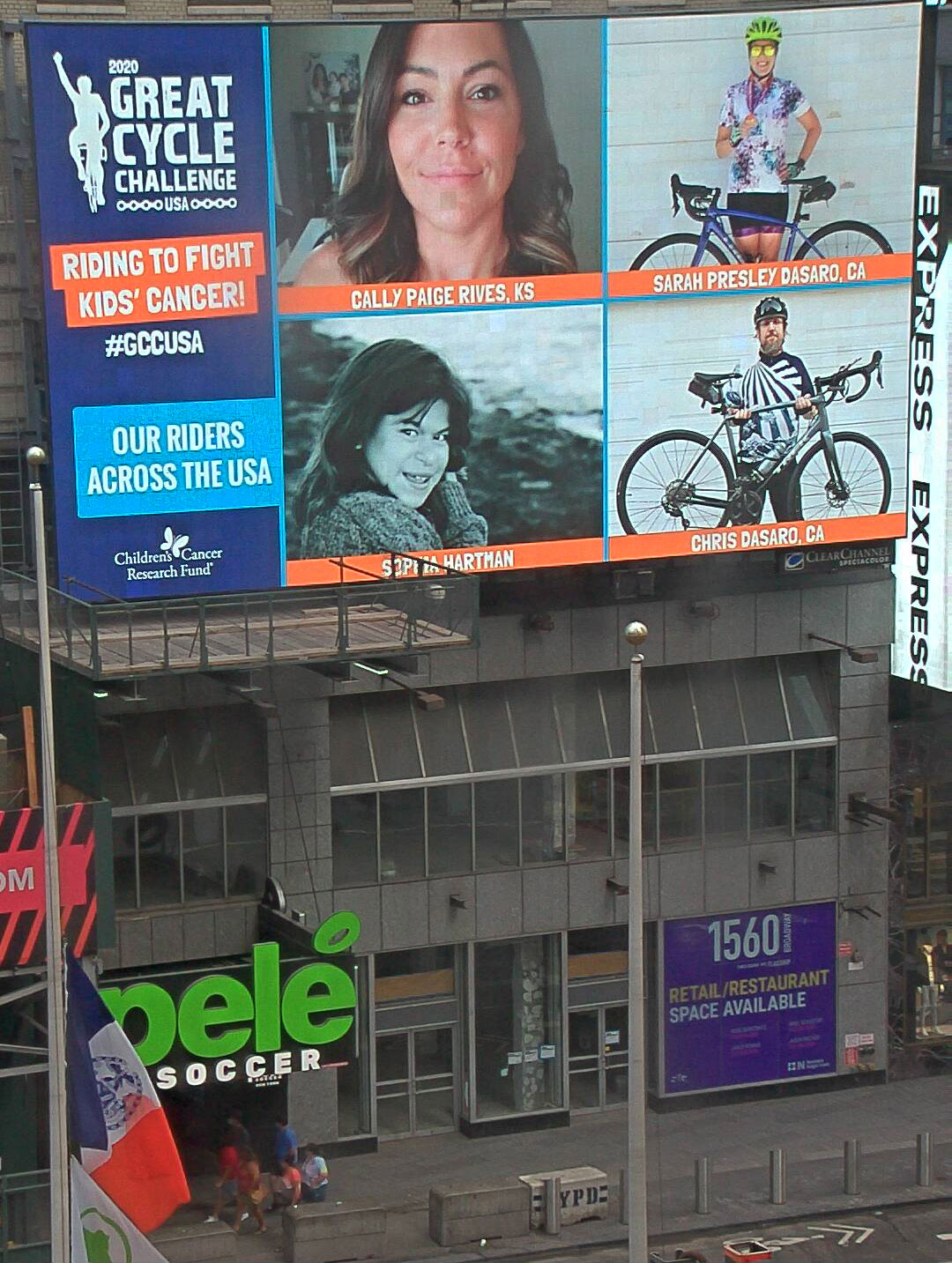 Our Sophia Hartman on Great Cycle Challenge Billboard in Times Square